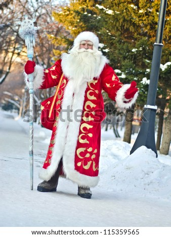 Santa Claus in full growth on a background of trees - stock photo