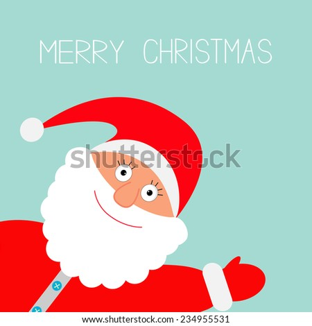 Santa Claus in red hat waving. Merry Christmas card Flat design  - stock photo
