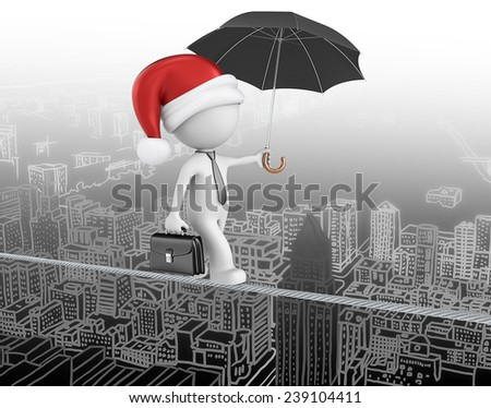 Santa claus is coming to town. Dude the business man with santa claus hat. Walking on wire above cityscape. - stock photo