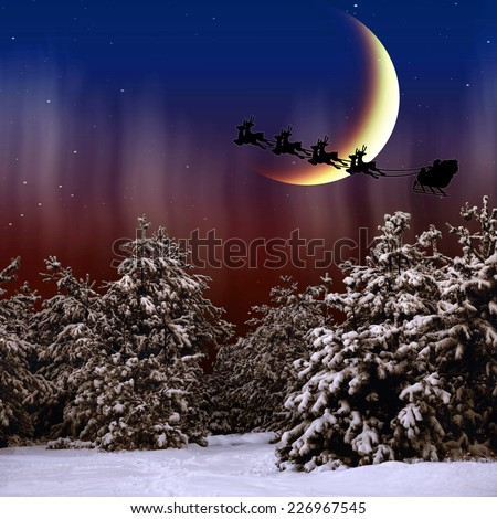 Santa Claus is flying in the Christmas night on the snow-covered forest - stock photo
