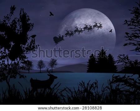 Santa Claus is flying in the dark sky - stock photo