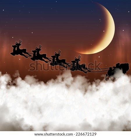 Santa Claus is flying on a background of the moon at night Christmas reindeer, delivering gifts. - stock photo