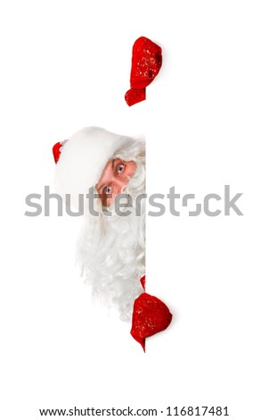 santa claus is looking out of white board, isolated on white - stock photo