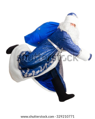 santa claus is running, isolated on white - stock photo