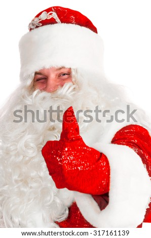 santa claus is showing thumbs up isolated on white