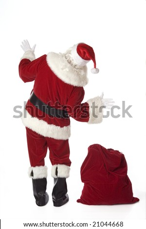 Santa Claus isolated on white with back to the camera - stock photo