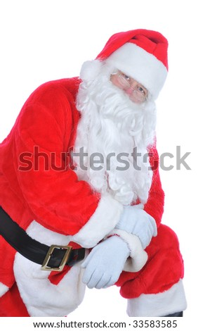 Santa Claus Leaning on one knee isolated on white - stock photo