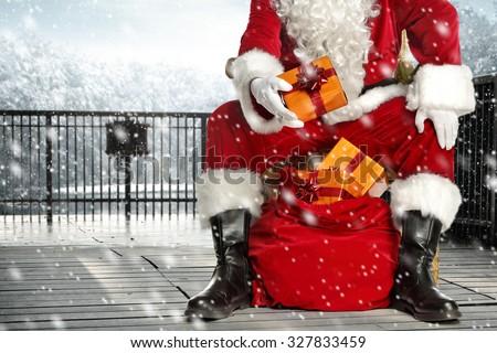 santa claus legs in black shoes  - stock photo
