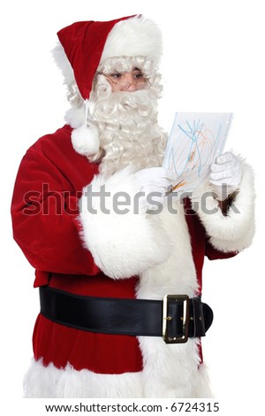 Santa Claus looking a drawing over white background