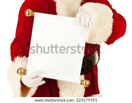 Santa Claus: Looking At Blank Paper Scroll On White - stock photo