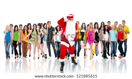 Santa Claus looking through for something, look far away hold hand at head, over big group of casual people diverse student background, concept of merry christmas time and happy new year - stock photo