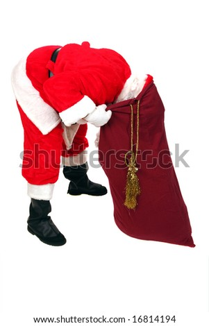 Santa Claus Looks inside his Sack for Your Special Gift isolated on white - stock photo
