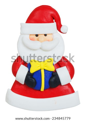 Santa Claus made of polymer clay isolated on white background