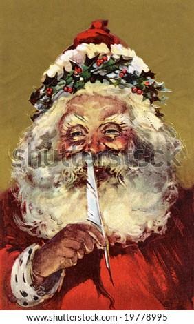 Santa Claus making a list - A Victorian illustration - stock photo