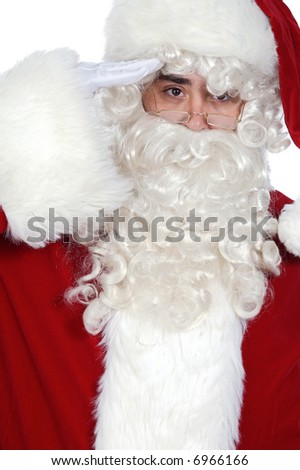 Santa Claus military salute over white background