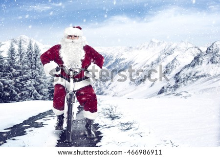 Santa Claus on a little bike
