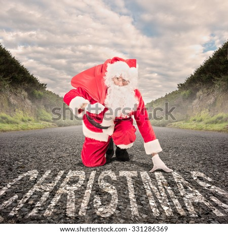 santa claus on a road ready to run. christmas concept