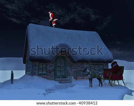 Santa Claus on a roof, ready to go down the chimney a starry night. His reindeer and sleigh waiting on the ground in front of the snow covered house. - stock photo