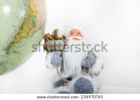 Santa Claus on his Christmas trip to South America - stock photo