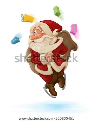 Santa Claus on ice - stock photo