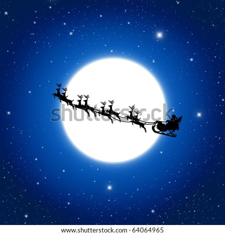Santa Claus On Sledge With Deer And white Moon, Illustration