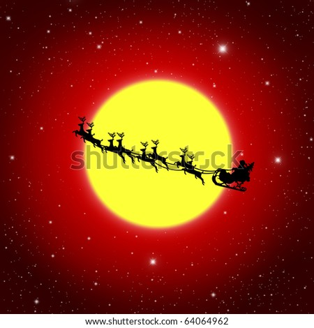 Santa Claus On Sledge With Deer And yellow Moon, Illustration