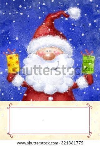 Santa Claus on snow background. Christmas greeting card. Happy New Year. Marry Christmas card. Christmas gift. Christmas  gifts. - stock photo
