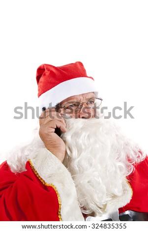 Santa Claus on the Phone . White Background - stock photo