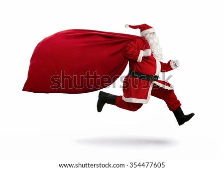 Santa Claus on the run to delivery christmas gifts isolated on white background - stock photo