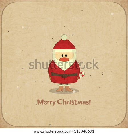 Santa Claus on vintage background, Merry Christmas postcard in Retro style - JPEG version - stock photo