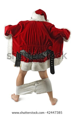 Santa Claus opening his coat and flashing. - stock photo