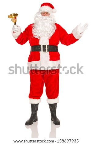 Santa Claus or Father Christmas ringing a gold bell, isolated on a white background. - stock photo
