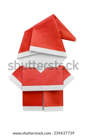 Santa Claus origami (papercraft folding) for Christmas day on white background. - stock photo
