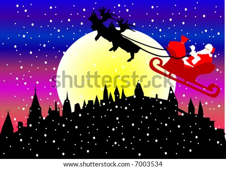 santa claus over town illustration