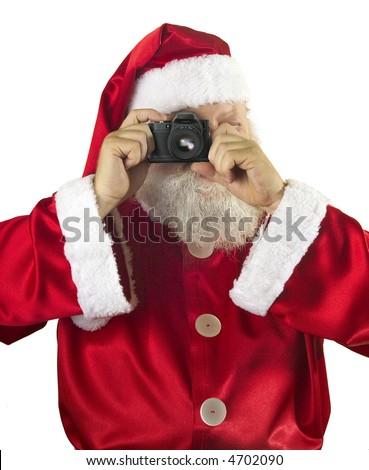 Santa Claus photographer with camera taking photos - stock photo