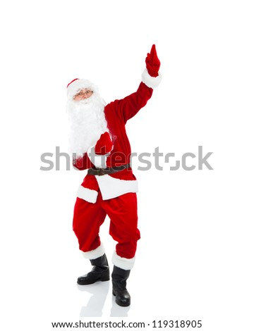 Santa Claus point finger glove up at blank empty copy space for Text isolated over white background, concept of christmas new year sale shopping - stock photo