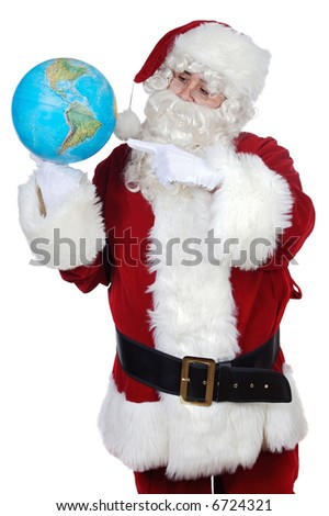 Santa Claus pointing at a globe over white background