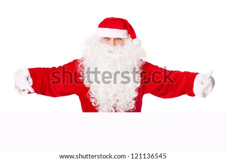 Santa Claus pointing at banner isolated on white background