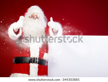 Santa Claus pointing in white blank sign with smile,christmas  red background - stock photo