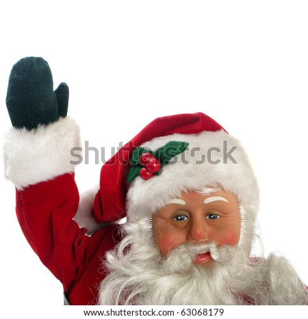 Santa Claus pointing to copy space over white background - stock photo