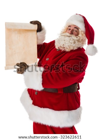 Santa Claus Portrait holding roll Isolated on White Background - stock photo