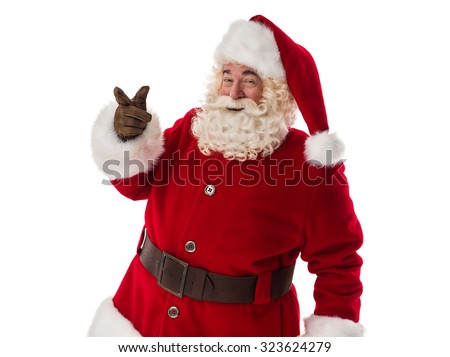 Santa Claus Portrait pointing at copyspace Isolated on White Background - stock photo