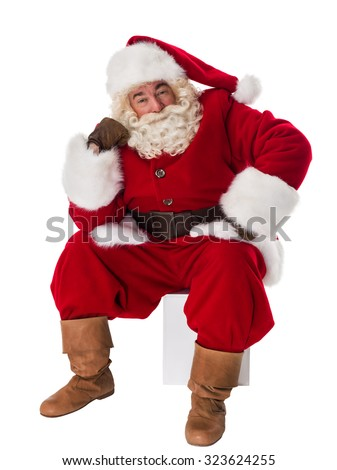 Santa Claus Portrait sitting pensive Isolated on White Background - stock photo