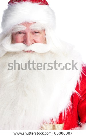 Santa Claus portrait smiling isolated over a white background - stock photo