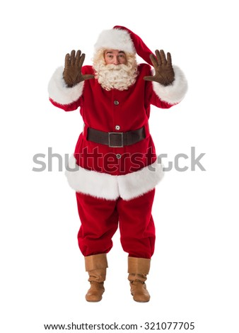 Santa Claus Portrait. Stop gesture - stock photo