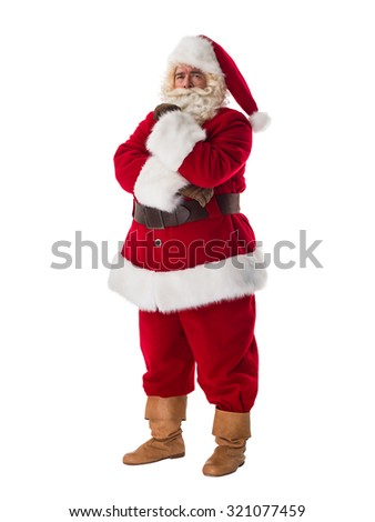 Santa Claus Portrait. Thinking with hands folded - stock photo