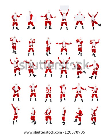 Santa Claus, posing isolated on white background, big set merry christmas time and happy new year collage - stock photo