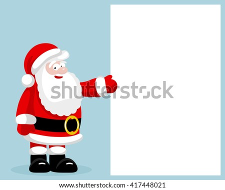 Santa Claus presenting empty blank. - stock photo