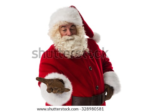 Santa Claus presenting new product Closeup Portrait - stock photo