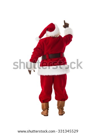 Santa Claus pressing virtual button Full Length Portrait. Isolated on White Background